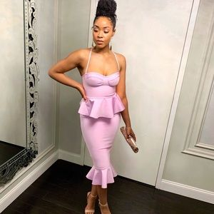 Premium lilac bandage bust cup peplum midi dress